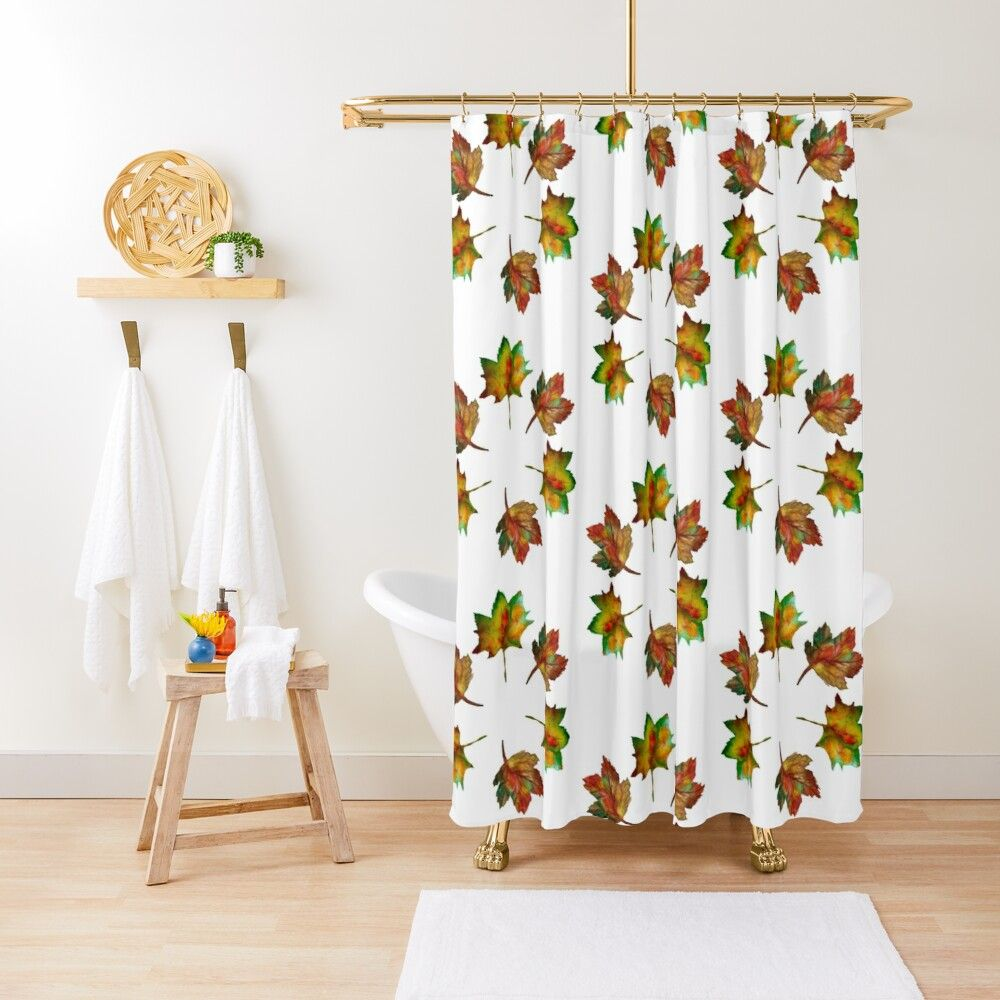 Autumn Leaves Shower Curtain By Manitarka Tubs And Showers Designer Shower Curtains Curtains
