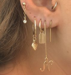 ♕ Threader Gold Filled Initial Earring | lesdeuxjewelry