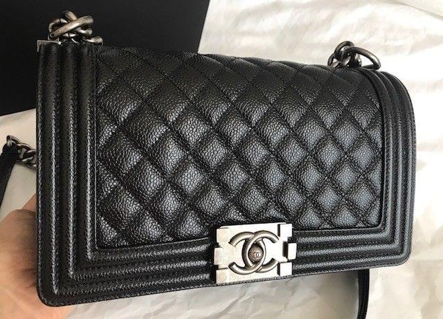 135552a7611d Details about CHANEL LE BOY Reverso BLACK Medium Leather Bag ...