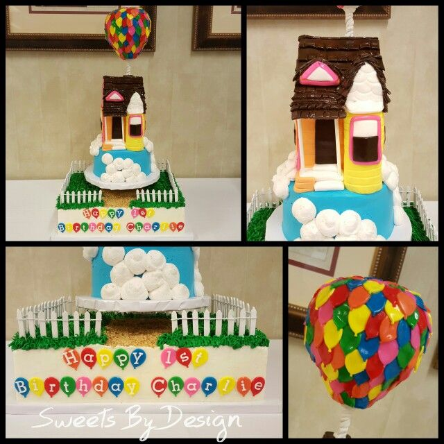 Up Inspired 1st Birthday Cake Complete With Blue Sky Smash Cake