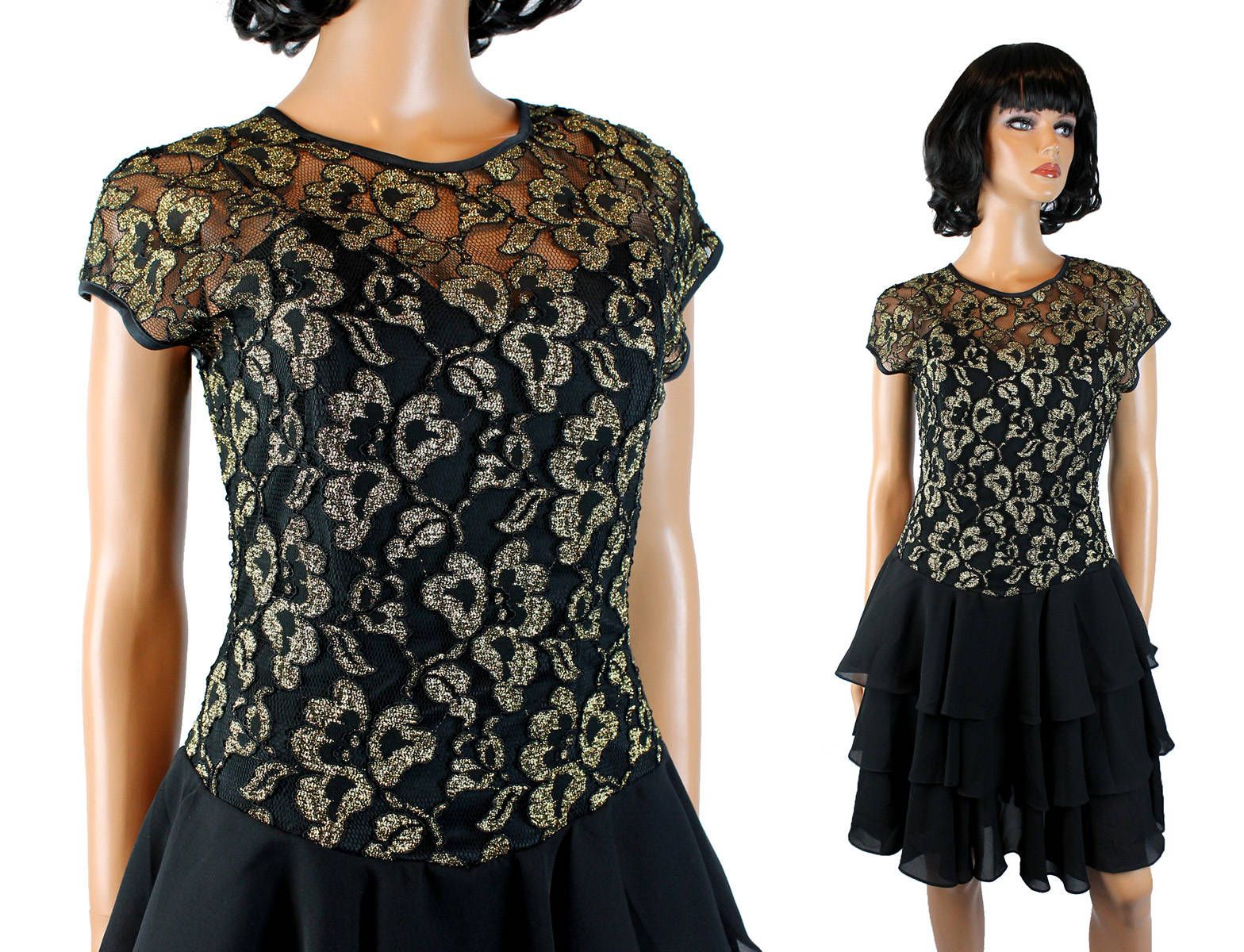 80s Prom Gown S M Black Gold Lace Tiered Chiffon Vintage Cocktail ...