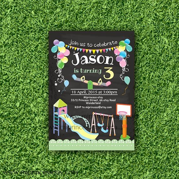 Playground birthday invitation kids park swings picnic bbq party playground birthday invitation kids park swings by miprincess filmwisefo Gallery