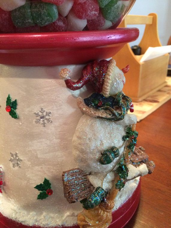 Snowman Ski Christmas Candy Jar Bank by UniqueDesignsGallery
