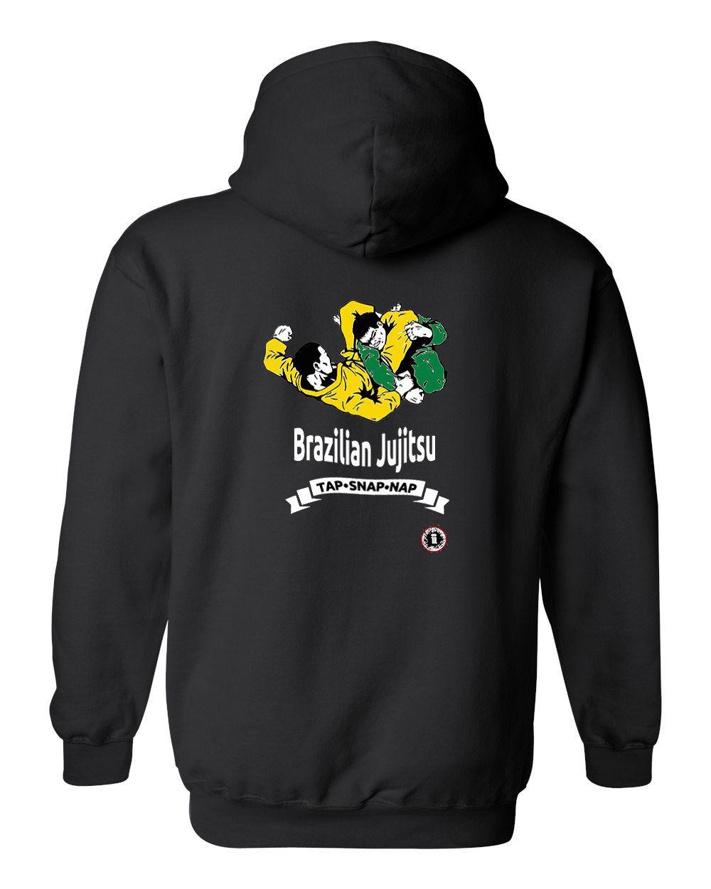 Brazilian jiu jitsu tap snap nap hoodie black mma bjj