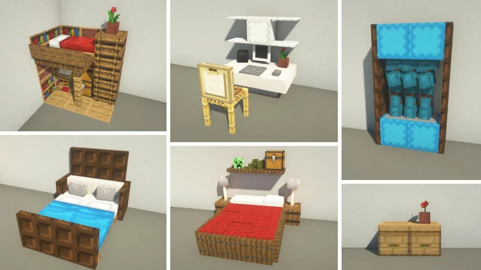 Here Are Some 1 16 Bedroom Decorations What Do You All Think Minecraftbuilds Minecraft Interior Design Minecraft Decorations Minecraft Mansion