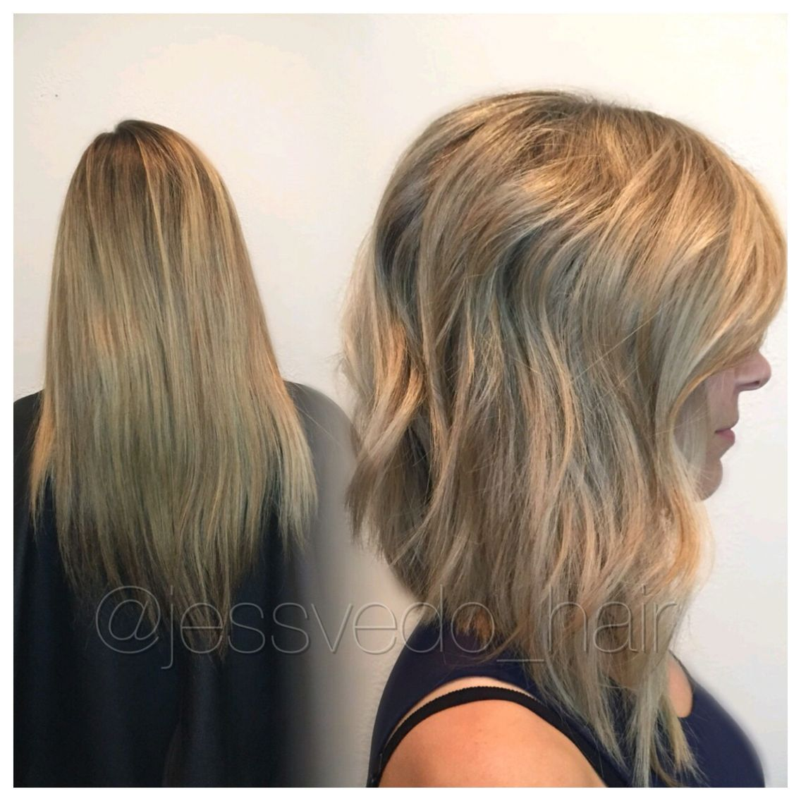 Blonde Textured A Line Bob With Long Layers And A Beach Wave Style