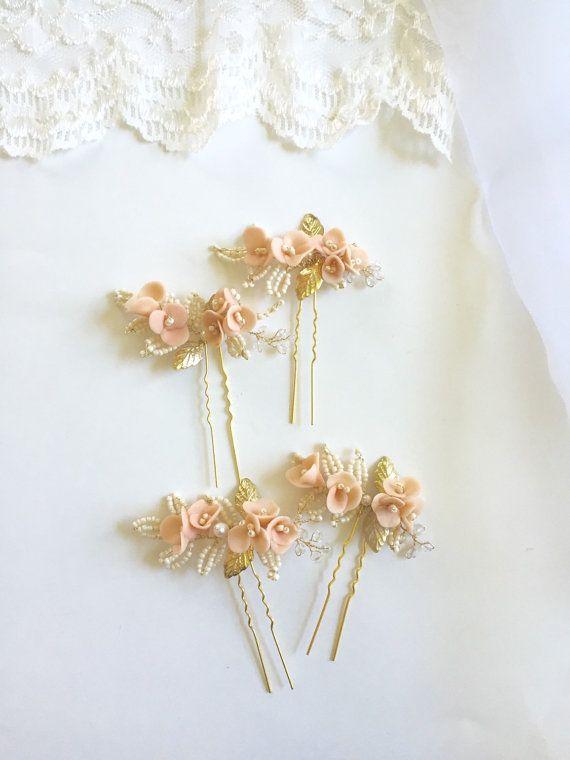 Blush Bridal Hair Pins Light Peach Ivory and  gold by amuandpri