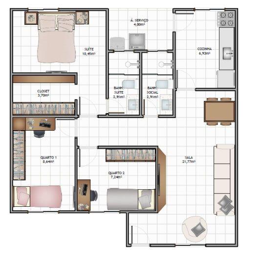 Casa de 75 m² - 3 Quartos c/ suíte
