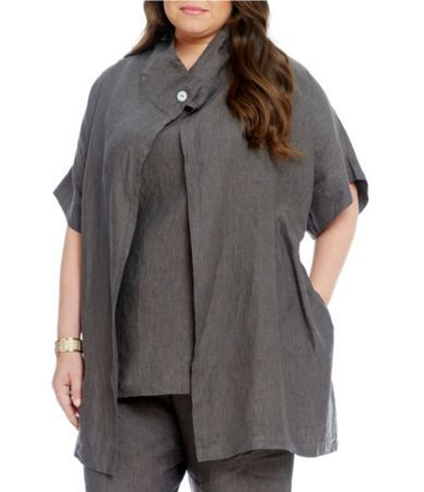 Bryn Walker Plus Gwinn Short Sleeve Linen Vest #Dillards