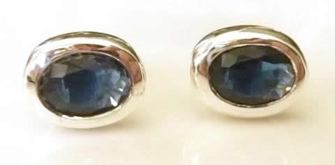 Beautiful quality lab sapphire and silver studs £16