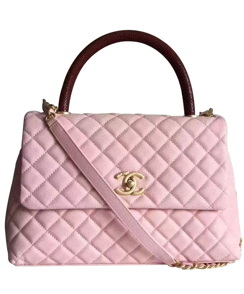 28136371b779 Chanel Coco Grained Calfskin Flap Bag with Lizard Handle A92992 ...
