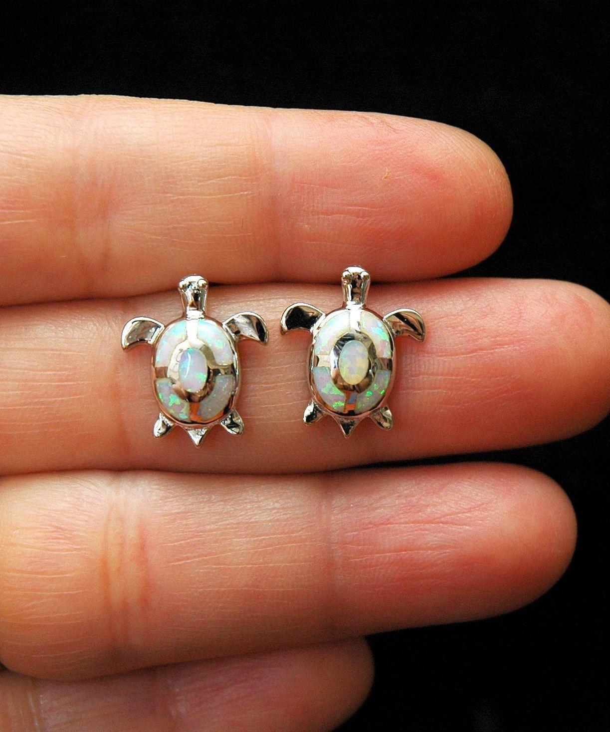 Opal Stud Turtle Earrings White Opal Earrings Sea Turtle ...