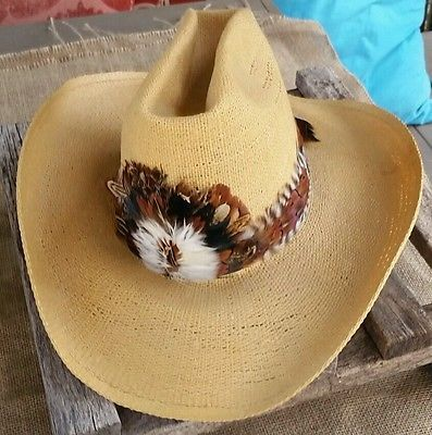 Resistol Self Conforming Stagecoach Cowboy Western Hat with Feather Band 83f8bb4f413c