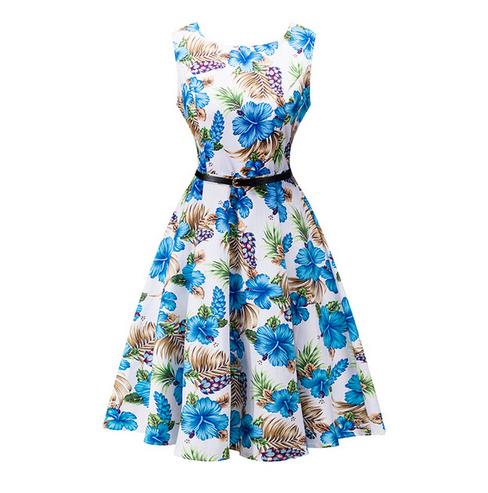 Blue rose pattern dress
