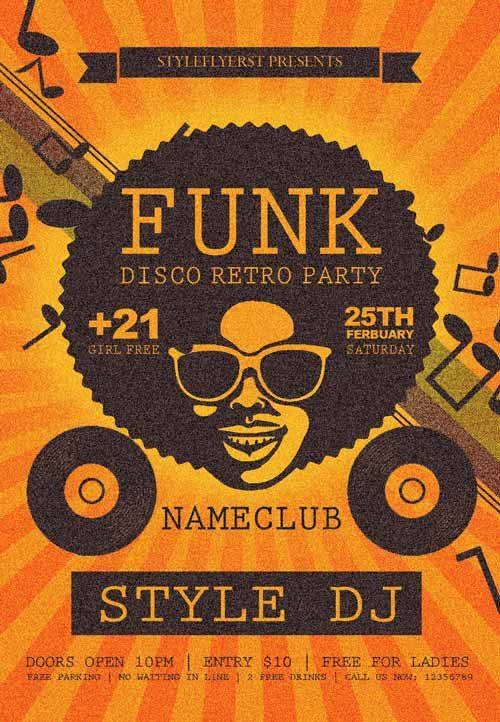 Funk Disco Retro Party Free Flyer Template -    freepsdflyer - free flyer templates word