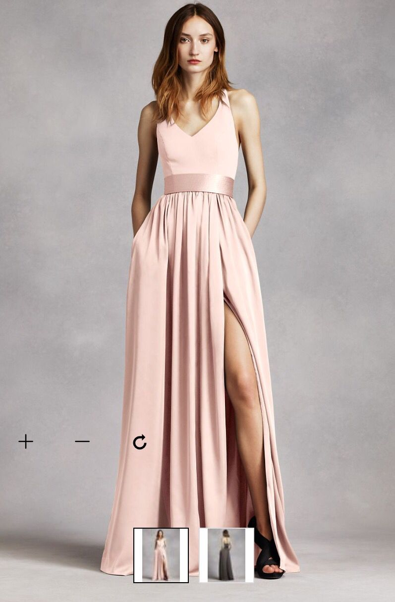 David\'s Bridal V Neck Halter Gown with Sash http://www.davidsbridal ...