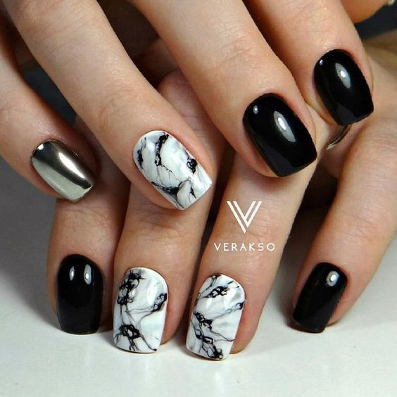 40 Simple Short Acrylic Square Nails For Summer 2017 19 Ilove White Gel Nails Black And White Nail Art White Nail Art