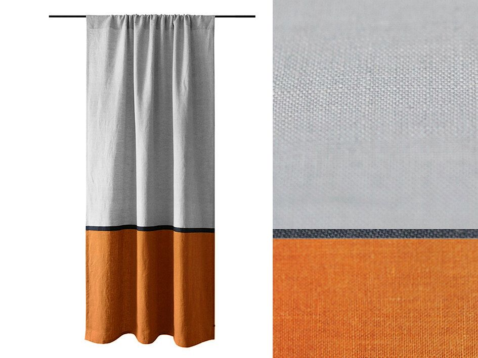 Curtain Panels Color Block Curtains Rust And Dove Grey