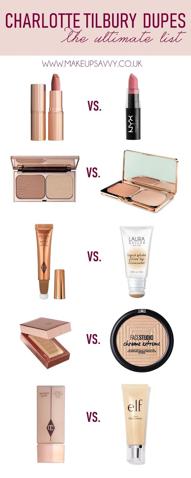 The Ultimate Charlotte Tilbury Dupe List The Ultimate Charlotte Tilbury Dupe List Makeup Products best makeup products