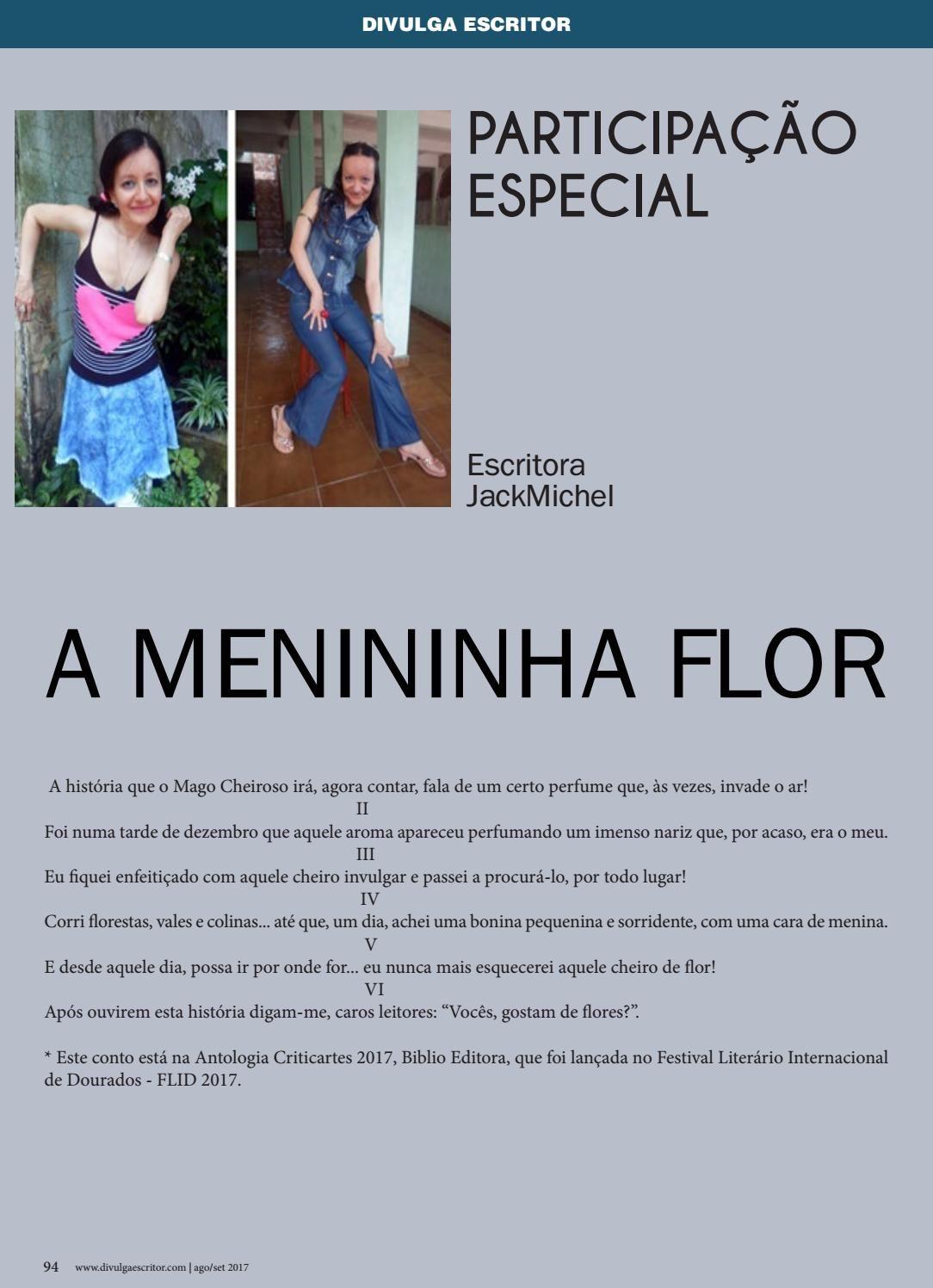 """9739f4841 A Menininha Flor""""JackMichel Revista Divulga Escritor Edição de N. 28 –  Agosto-"""