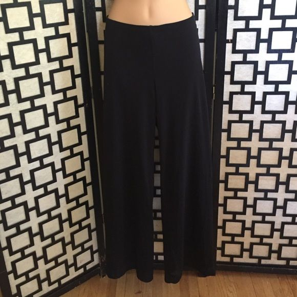 CAbi sheer black nylon panes with black lining Super stylish wide legged pants with elastic waist. No holes or stains. Pants have full length black lining under sheer mesh nylon fabric. CAbi Pants Wide Leg