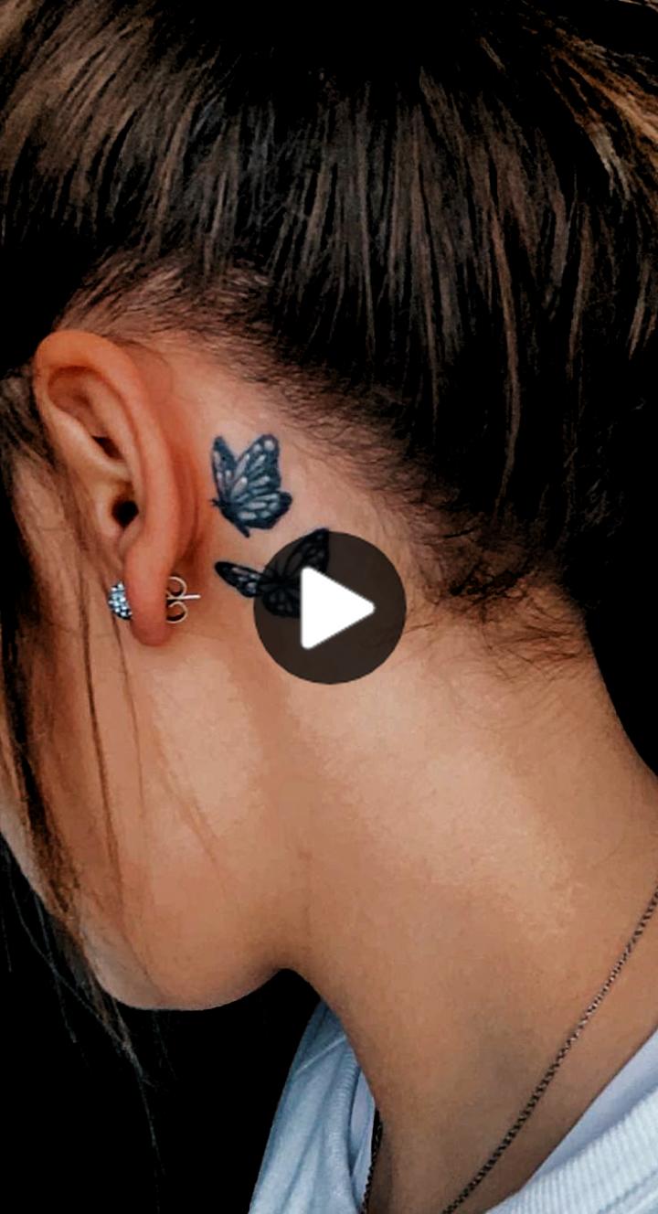 耳の後ろの蝶のタトゥーbutterfly tattoo behind ear in 2020