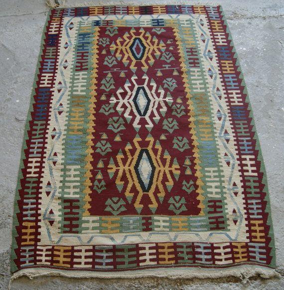 Vintage Turkish Rug,Small Block Print Antalya Kilim 3x5 Ft Area Rug,Kelim,Carpet