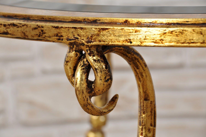 Tavolino Salotto Ferro Battuto.Tavolo Da Salotto Rotondo In Ferro Battuto Dorato In Foglia Oro