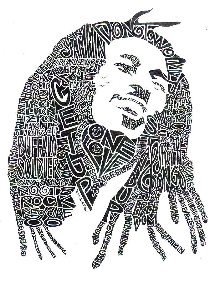 Bob marley black and white word portrait by kato smock