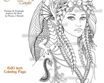 fairy tangles coloring sheets digi digital by fairytangleart - Coloring Pages Dragons Fairies