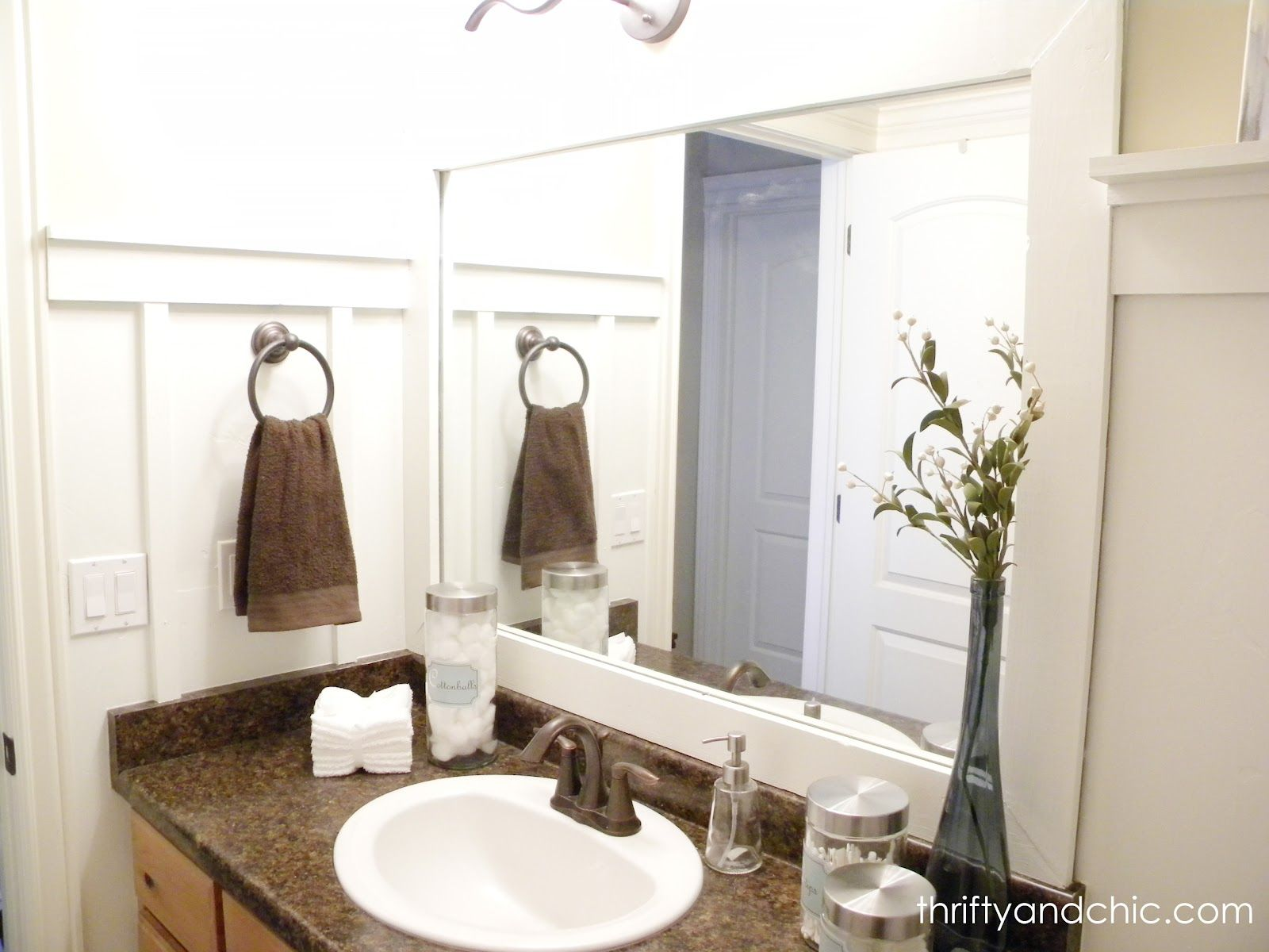 Cheap and Chic Board and Batten Tutorial   Frame bathroom mirrors ...