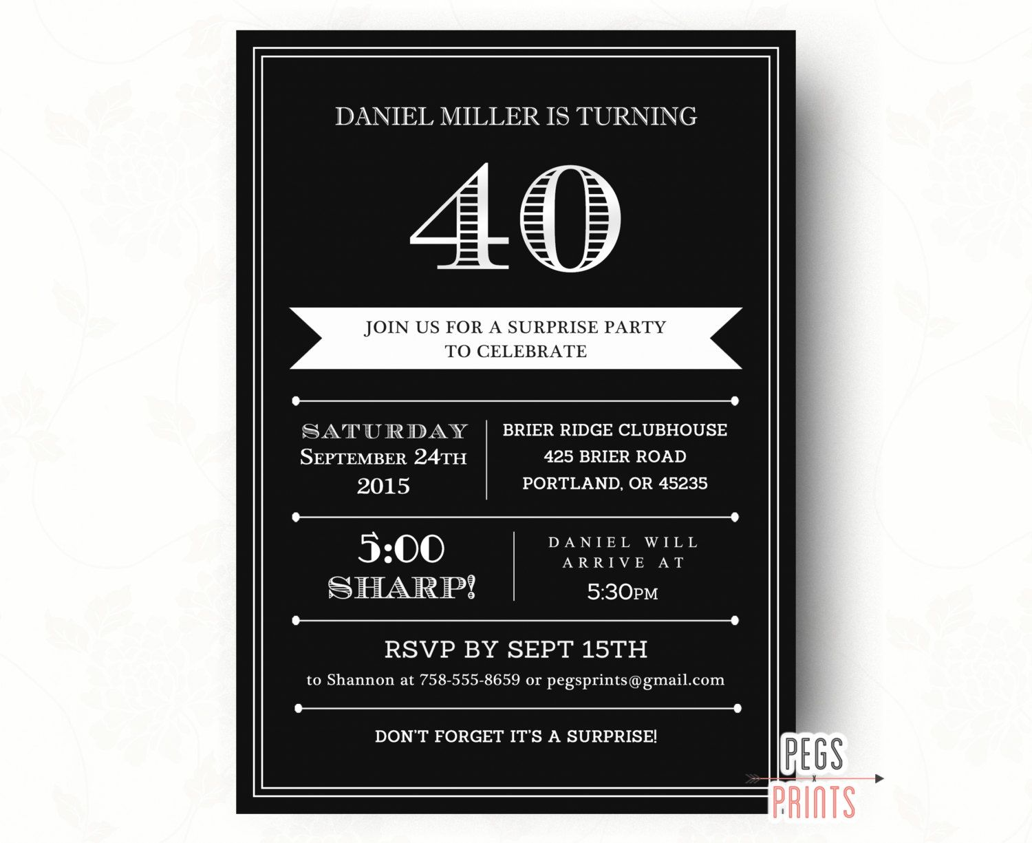 40th Birthday Invitation For Men Printable Adult Surprise Party Invites