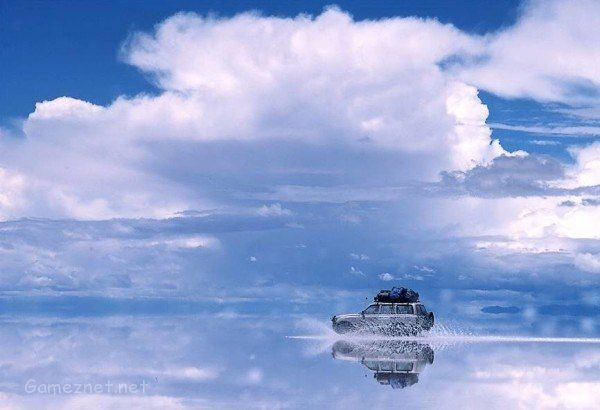 Salar de Uyuni- One of the world's largest mirrors in Bolivia.Southwest Bolivia's Salar de Uyuni is not only the world's largest salt flat,it's also the largest mirror on the planet!The incredible 6,575 square mile flat is home to many shallow lakes that reflect the gorgeous skies, clouds and animals of Bolivia.   #largestmirrorontheplanetlargest  #saltflat  #salardeuyuni