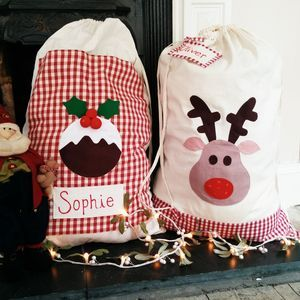 Beautiful Personalised Christmas Reindeer Santa Sack stocking gift bag xmas