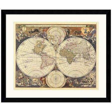 I pinned this New World Map, 17th Century Framed Wall Art from the - new world map canvas picture