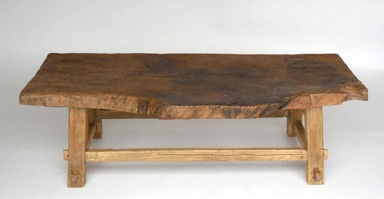 one wide board elm wood coffee table with live edge | wood coffee