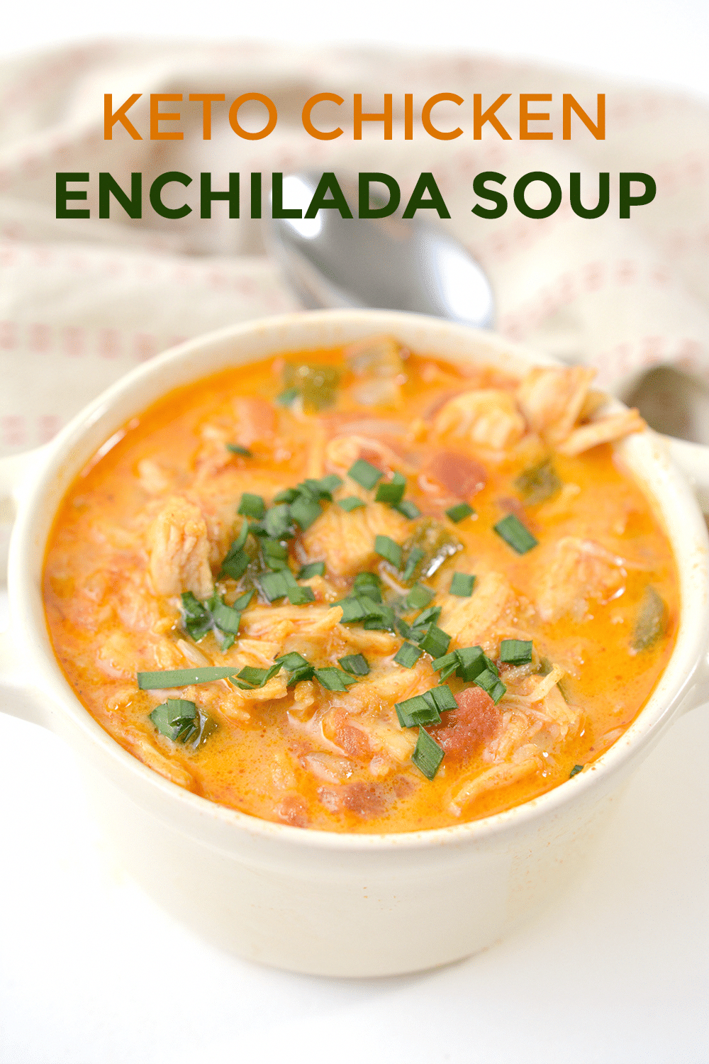 Looking for an easy and healthy keto chicken enchilada soup recipe? Look no further because I have the PERFECT low carb recipe! It's creamy, has plenty of cheese, and is even made on the stovetop in under 30 minutes. It will be a crowd pleaser for the whole family - including the picky kids.