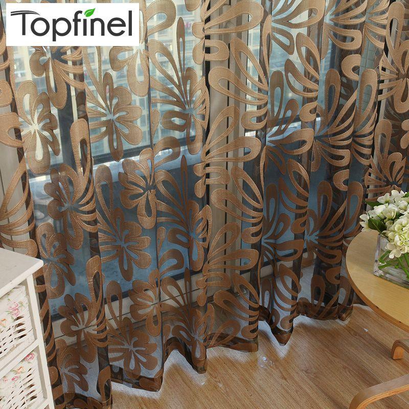 Top Finel Geometrische Moderne Fenster Sheer Flächenvorhänge für