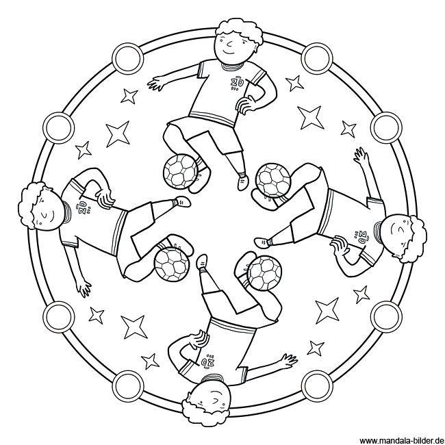 Mandala Ausmalbild Fuball  Bastelspass mit Kindern  Pinterest