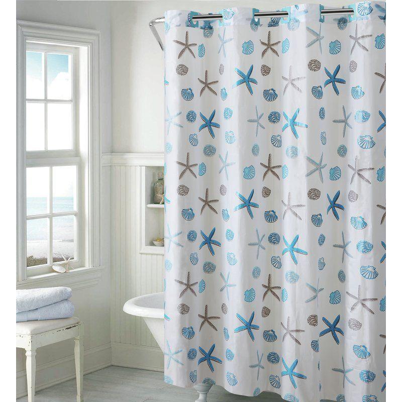 Seashell Single Shower Curtain Hookless Shower Curtain Beach