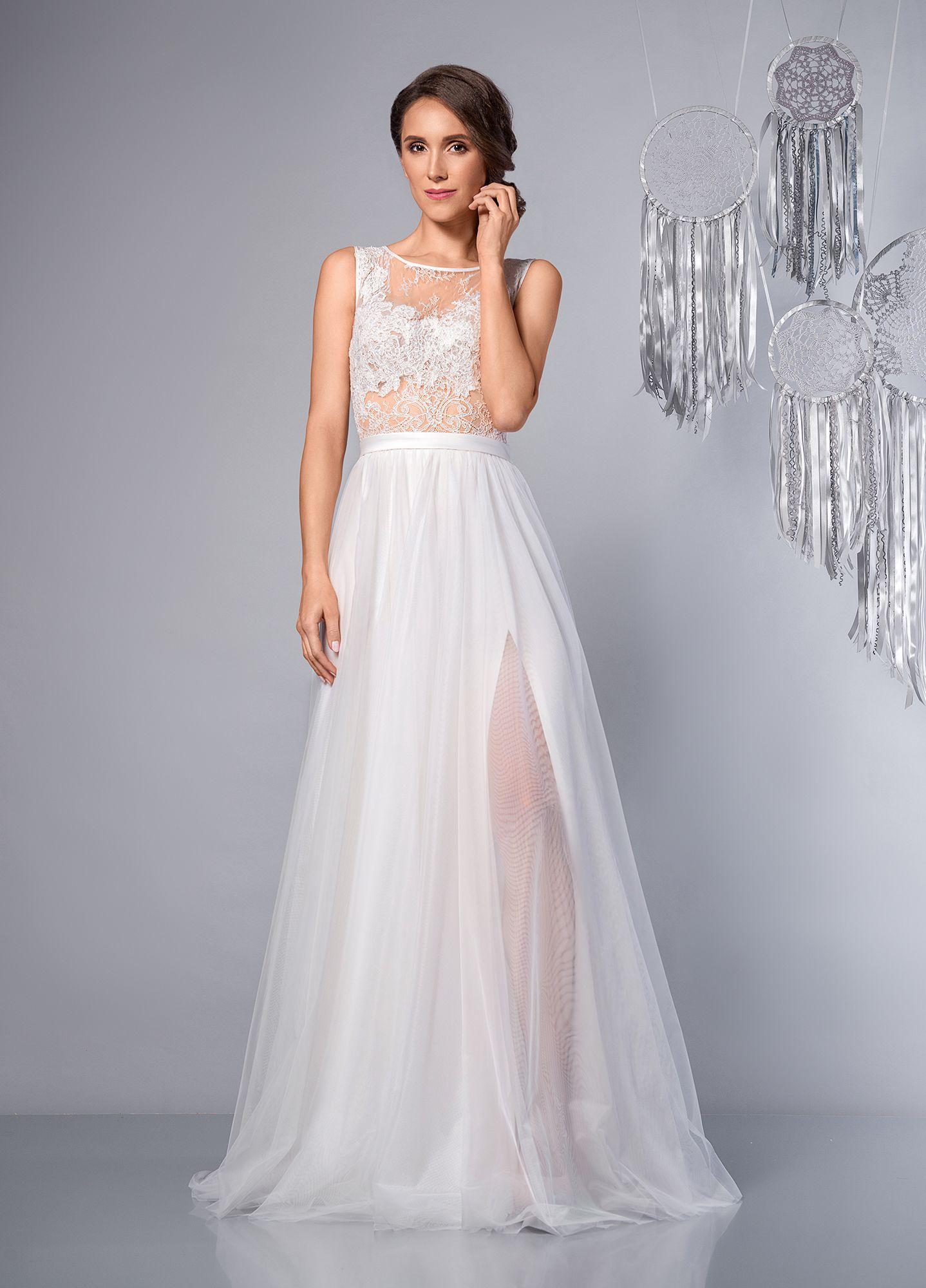 Dream Suknia ślubna Romantyczna Rustykalna Z Rozcięciem Rustic