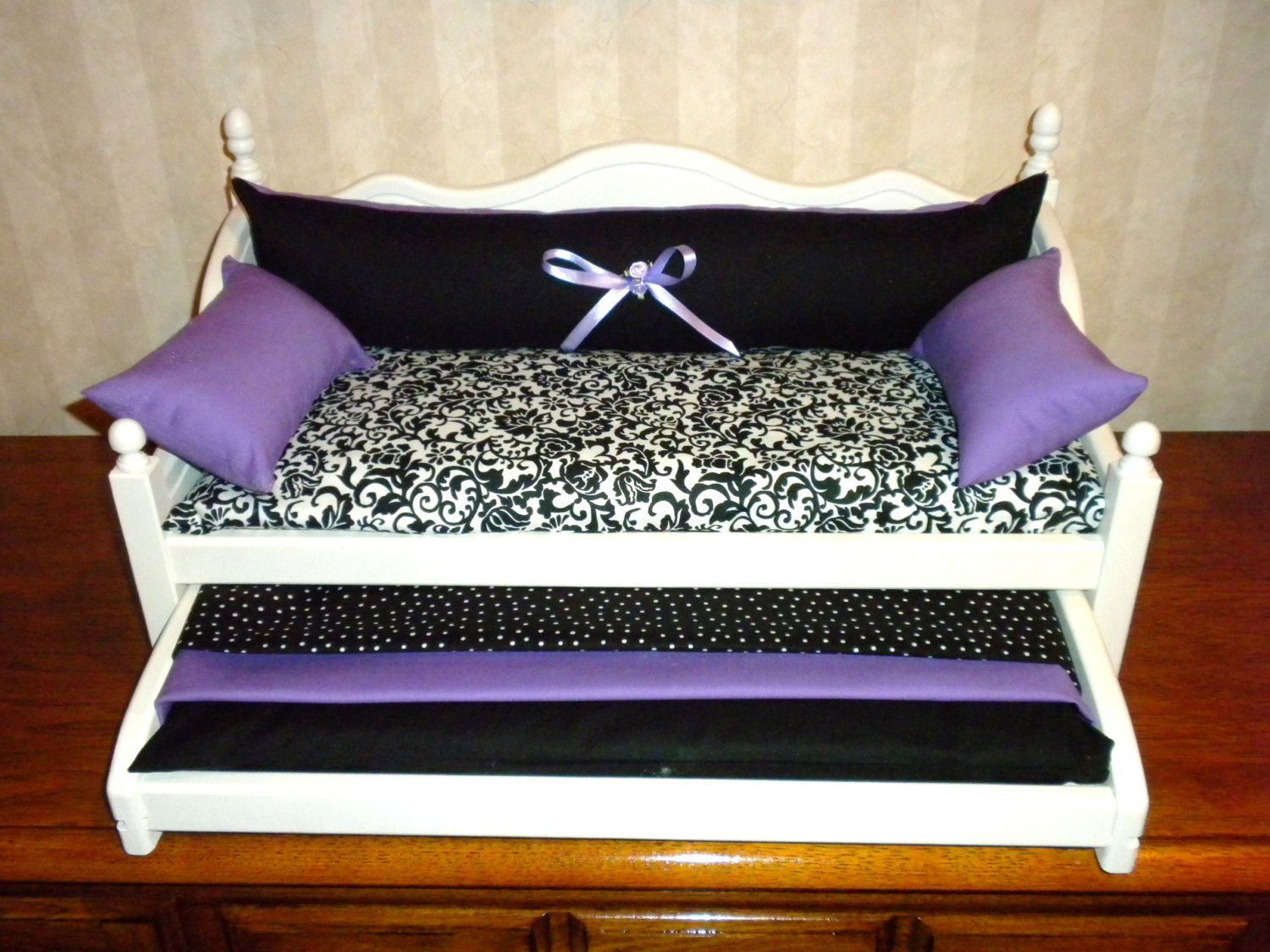 Bedding black purple for american girl doll trundle bed