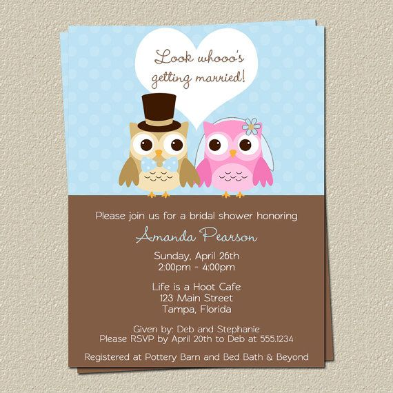 Couples Bridal Shower Invitations, Owl Wedding Shower
