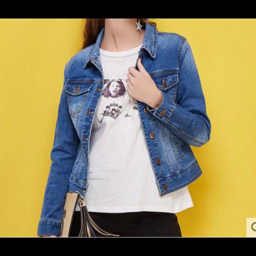 جاكيت جينز قصير ازرق غامق بأزرة ذهبية Dark Blue Jeans Blue Jean Jacket Blue Jeans
