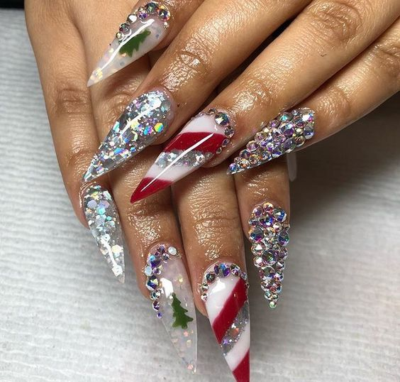 Christmas Stiletto Nails.40 Stunning Acrylic Nail Ideas To Inspire You 3 Polishh