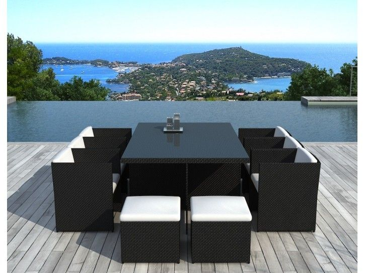 Salon De Jardin Encastrable 10 Places En Resine Tressee Noire Cancun With Images Outdoor Furniture Sets Outdoor Furniture Outdoor Decor