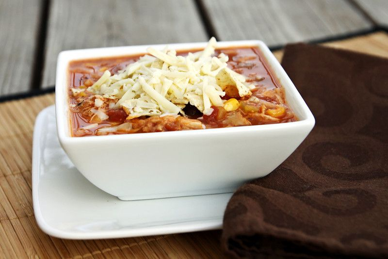 Let's Dish Recipes: SLOW COOKER CHICKEN ENCHILADA SOUP