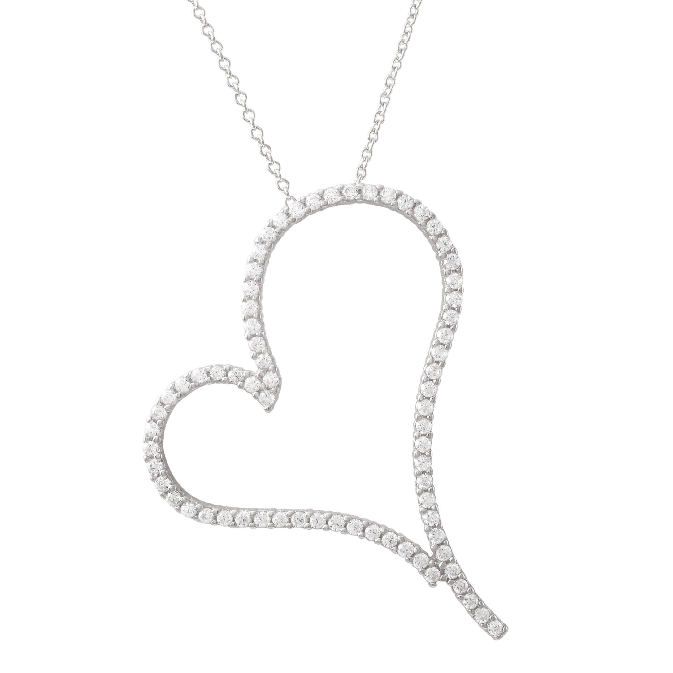 Luxiro Gold Finish Sterling Silver Cubic Zirconia Open Heart Pendant Necklace