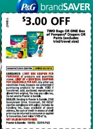 Pampers Coupons 3 Off 2 Bags Or 1 Box 1 Off Pampers