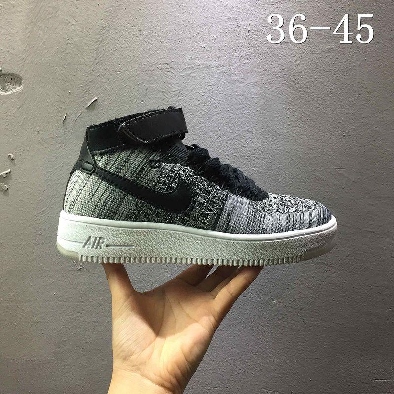 best website ce445 09b1c Discount Nike air force 1 AF1 Flyknit high Leaden Grey Black Noir 817420  005 Youth Big Boys Shoes